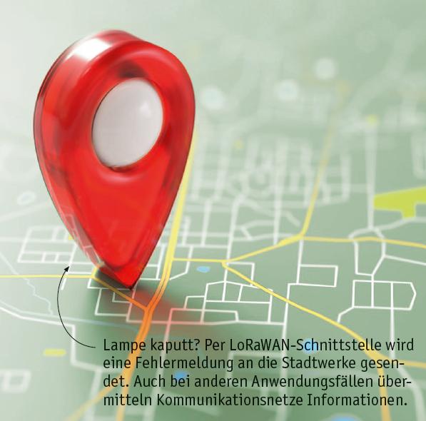 Per LoRaWAN werden aktuelle Informationen, beispielsweise zu defekten Lampen an Stadtwerke gesendet.