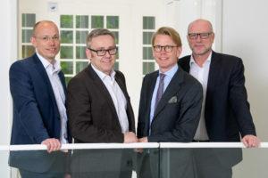 Teilen sich die Geschäftsführung der neuen Thüga SmartService (von links): Franz Schulte, Peter Hornfischer, Emil Bruusgaard und Georg Lessak. ©Thüga