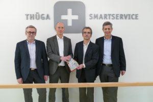 Offizielle Übergabe des CASA im Safebag: (von links) Peter Hornfischer, Franz Schulte, Norbert Malek, Dr. Peter Heuell. ©Thüga SmartService