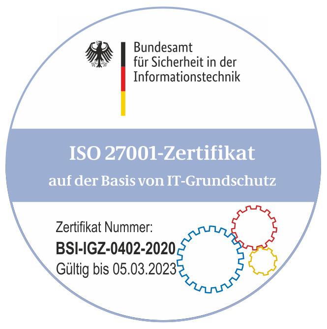 Logo ISO 27001 auf Basis IT-Grundschutz